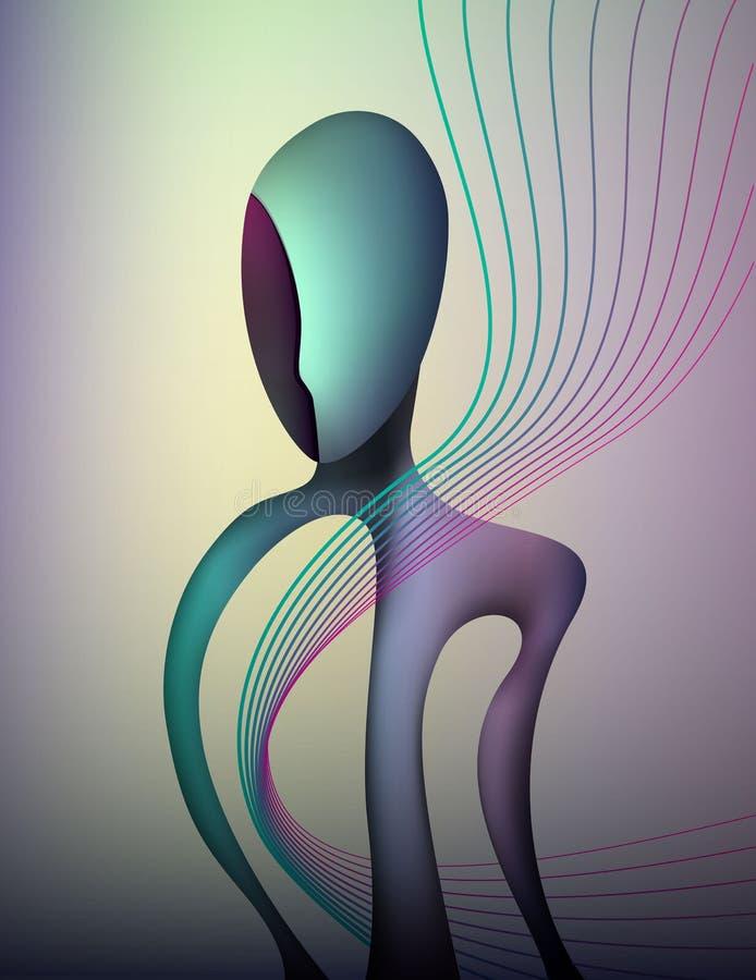 情感概念颜色和形状,人感觉幸福,抽象人形状,超现实主义 皇族释放例证