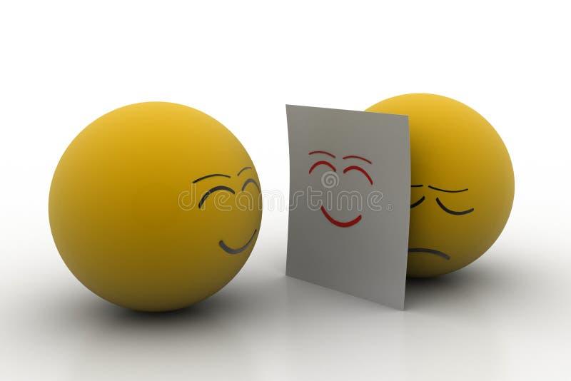 情感球皮真正的面孔 向量例证