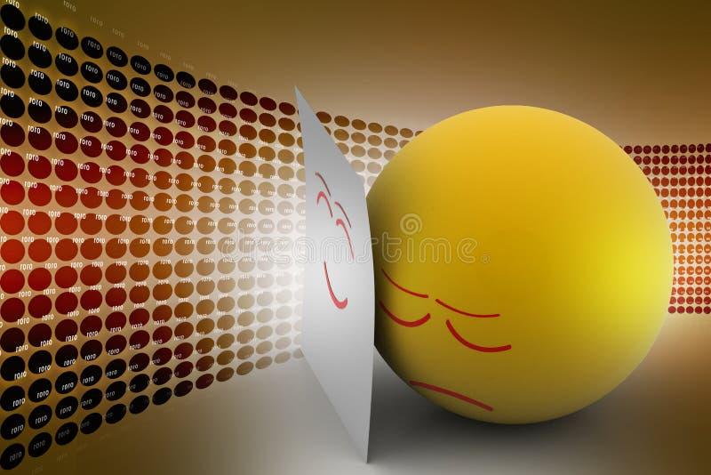 情感球皮真正的面孔 库存例证