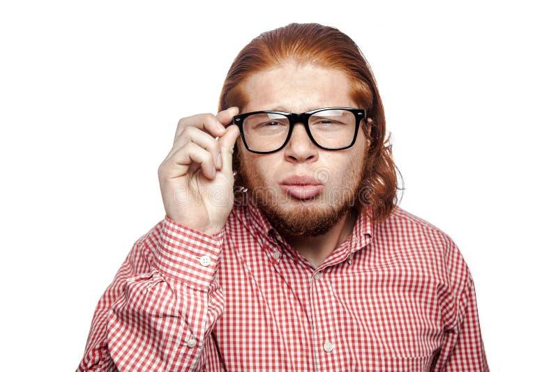 情感红头发人商人 免版税库存图片