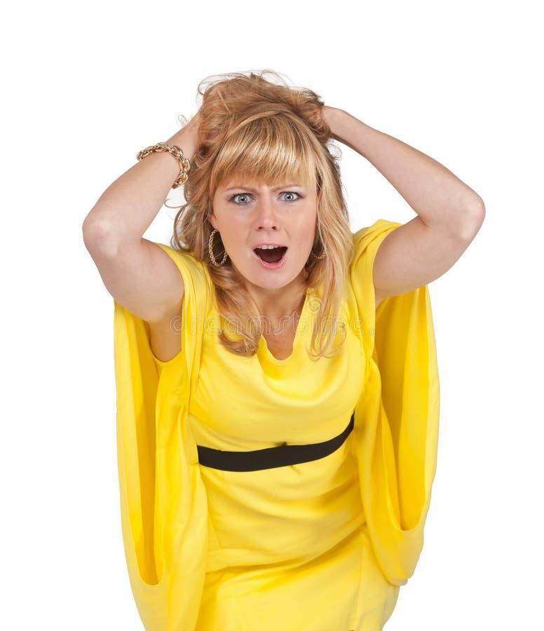 情感美丽的年轻白肤金发的妇女 免版税图库摄影