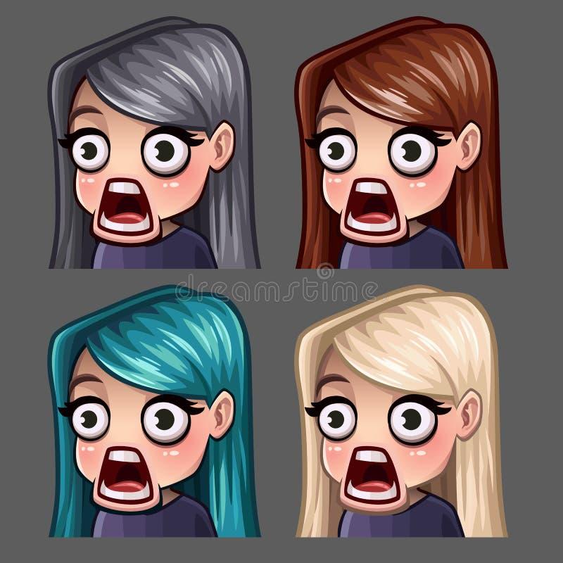 情感象使有长的头发的女性惊奇社会网络和贴纸的 库存例证
