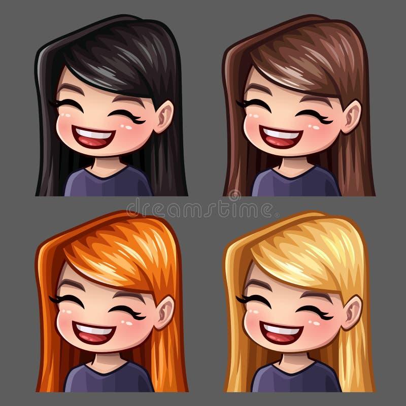 情感象有长的头发的微笑女性社会网络和贴纸的 库存例证