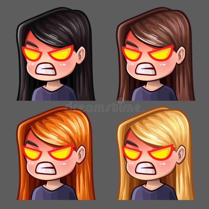 情感象有长的头发的愤怒女性社会网络和贴纸的 皇族释放例证