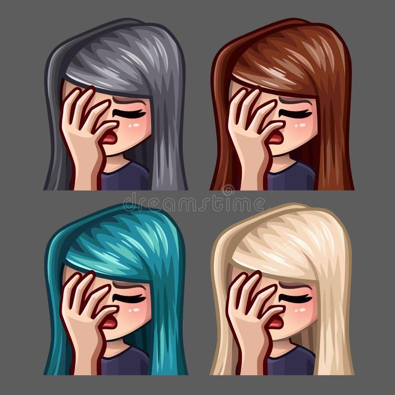 情感象有长的头发的facepalm女性社会网络和贴纸的 皇族释放例证