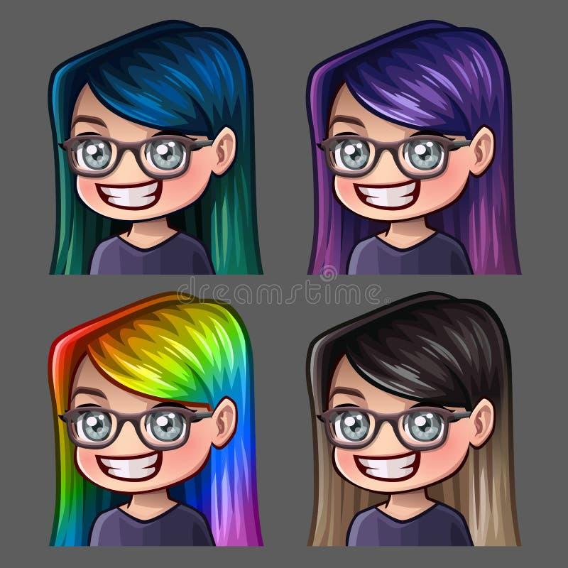 情感象玻璃的微笑女性与社会网络和贴纸的长的头发 库存例证