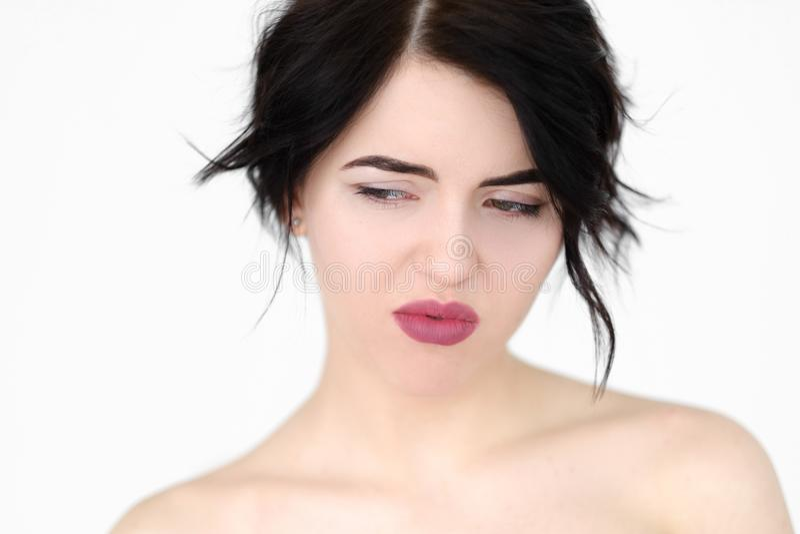 情感面孔体贴的沉思压抑妇女 库存照片