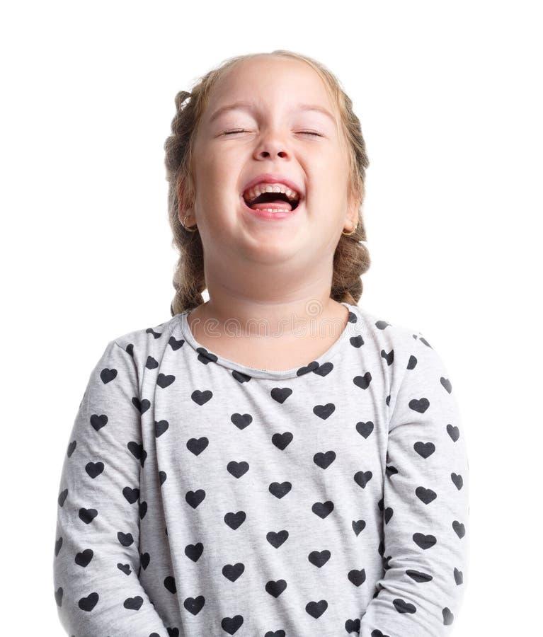情感 小女孩艰苦笑 白色查出的背景 库存图片