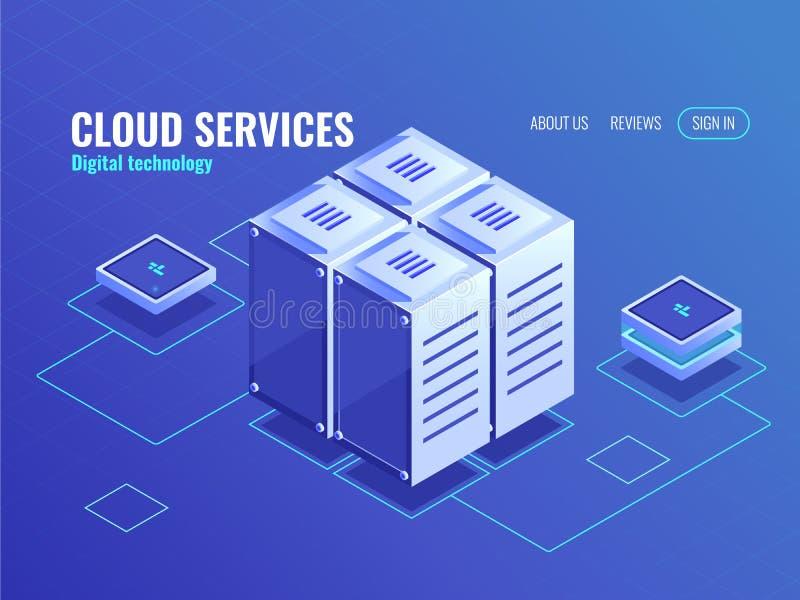 情报中心等量象,导线连接技术对象,数据交换,服务器,3d传染媒介蓝色 向量例证