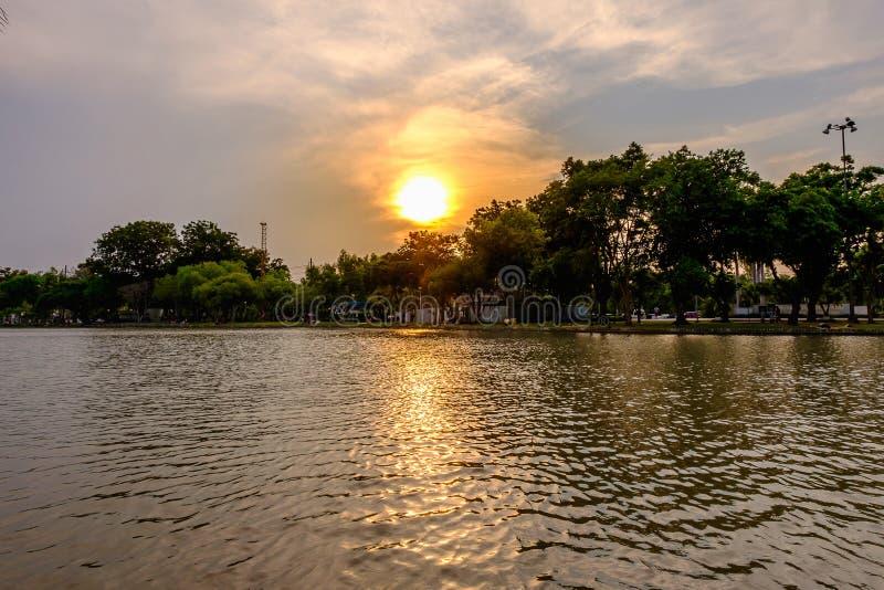 惊人充满活力在Jatujak公园的日落期间 库存照片