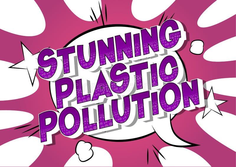 惊人塑料污染-漫画样式词 皇族释放例证