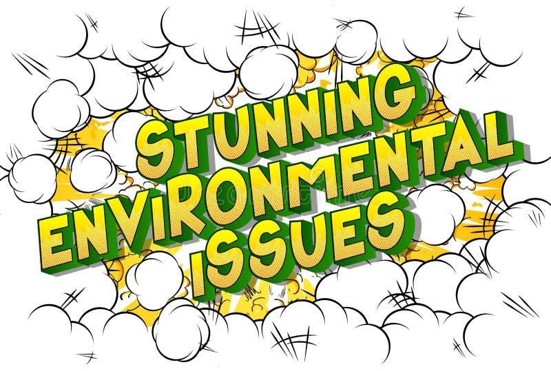 惊人环境问题-漫画样式词 向量例证