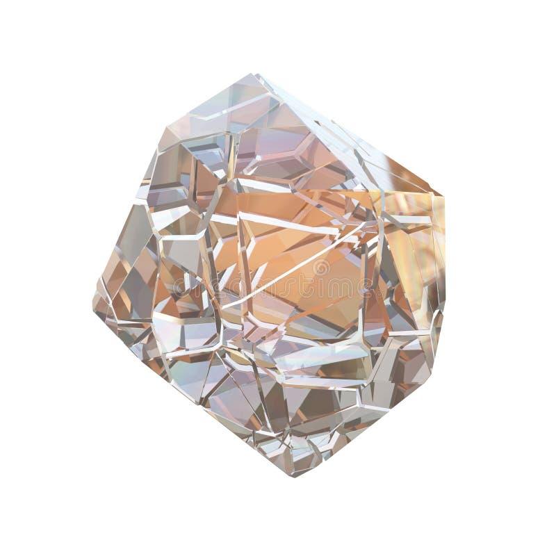 惊人的五颜六色的在白色背景隔绝的金刚石石英彩虹火焰蓝色水色气氛水晶群特写镜头宏指令 皇族释放例证