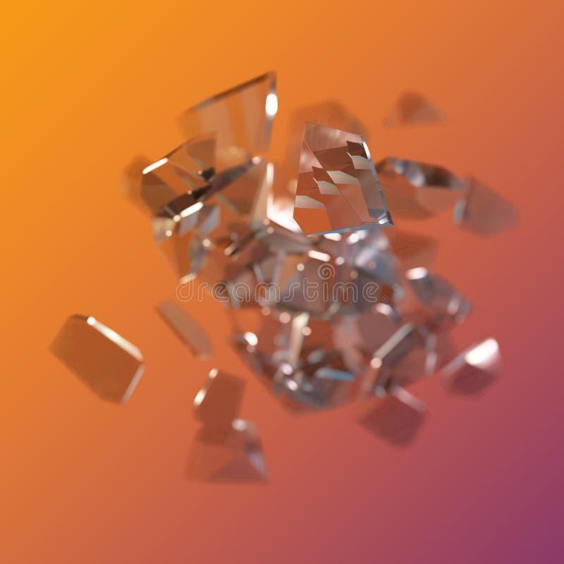 惊人的五颜六色的在紫罗兰色桔子隔绝的金刚石石英彩虹火焰蓝色水色气氛水晶群特写镜头宏指令 向量例证