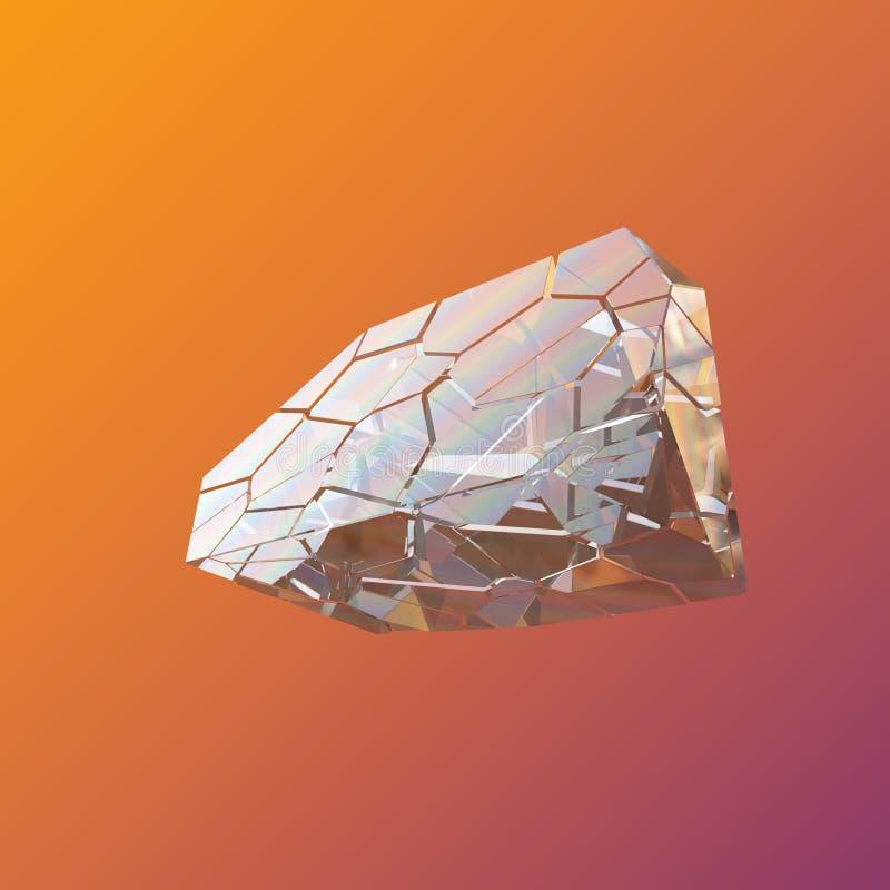 惊人的五颜六色的在紫罗兰色桔子隔绝的金刚石石英彩虹火焰蓝色水色气氛水晶群特写镜头宏指令 库存例证