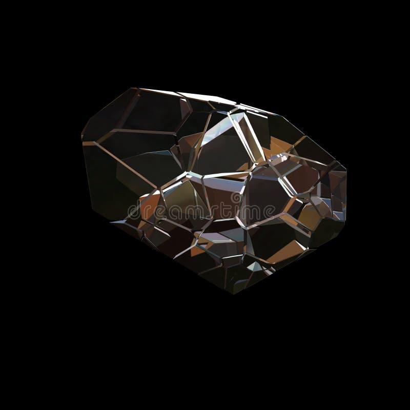 惊人的五颜六色的在黑背景隔绝的金刚石石英彩虹火焰蓝色水色气氛水晶群特写镜头宏指令 摘要 皇族释放例证