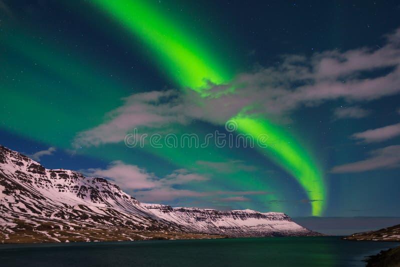 惊人的北极光在冰岛 免版税库存图片
