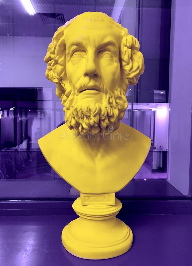 惊人的古老诗人荷马,希腊象的胸象 库存照片