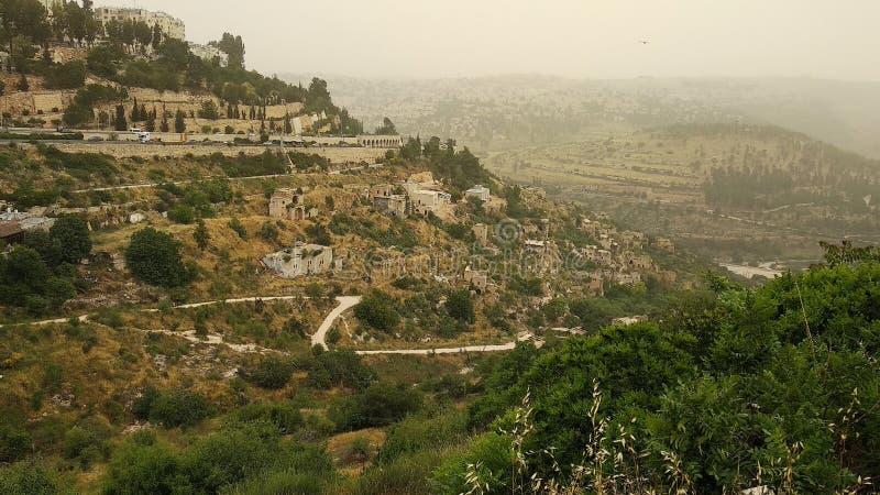 惊人的小山电影风景在耶路撒冷,以色列 免版税库存照片
