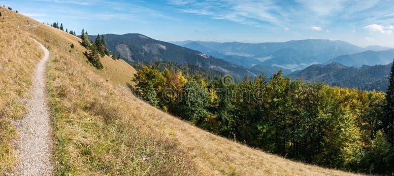惊人的山风景在早期的秋天 免版税库存图片