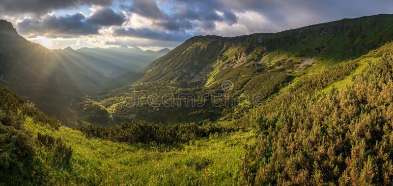 惊人的日出全景在山谷的 库存照片