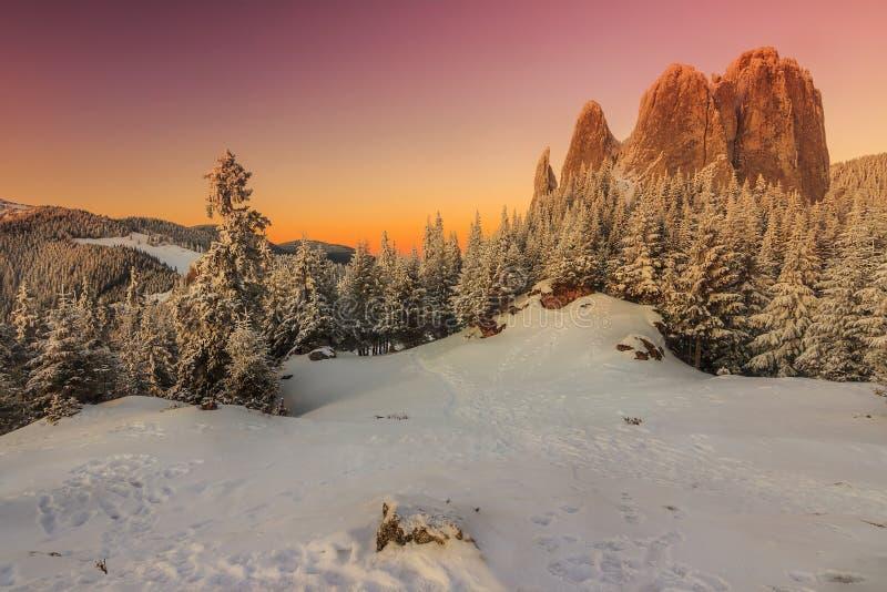 惊人的日落和不可思议的风景,偏僻的岩石,喀尔巴汗,罗马尼亚 免版税图库摄影