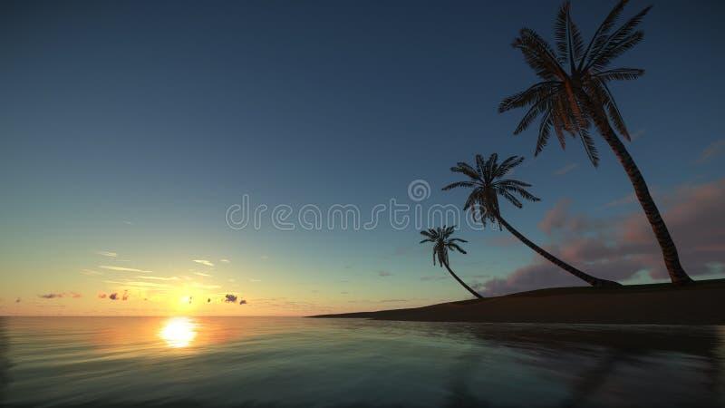 惊人的日落的热带天堂 免版税库存照片