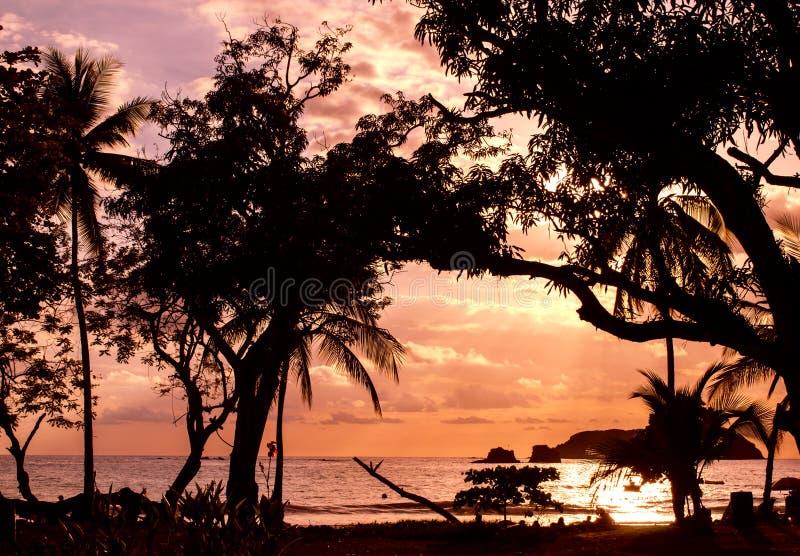 惊人的日落-曼纽尔安东尼奥,哥斯达黎加 免版税库存照片