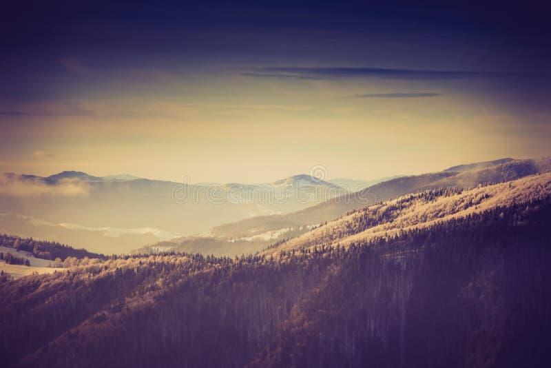 惊人的晚上冬天风景在山的 库存图片
