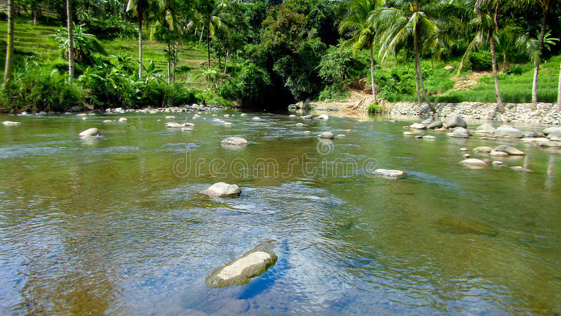 惊人的河在打横,西爪哇省,印度尼西亚 免版税图库摄影