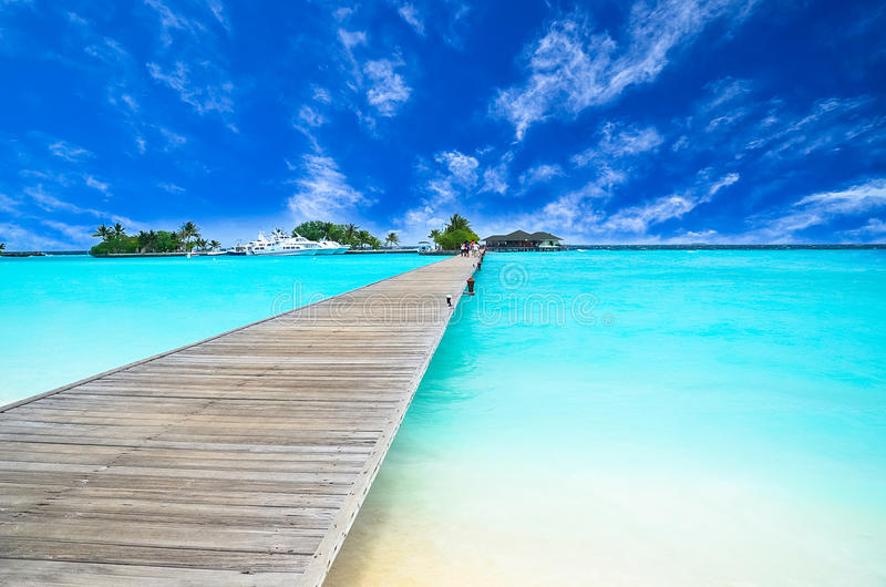 惊人的海岛和原始海滩在马尔代夫 图库摄影