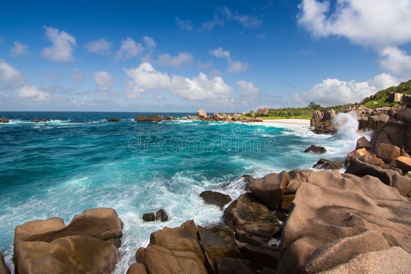 惊人的海滩从拉迪格岛海岛,塞舌尔群岛的Anse马伦 库存照片