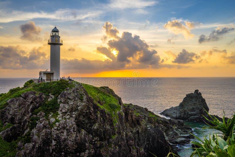 惊人的灯塔在海岛 免版税库存照片