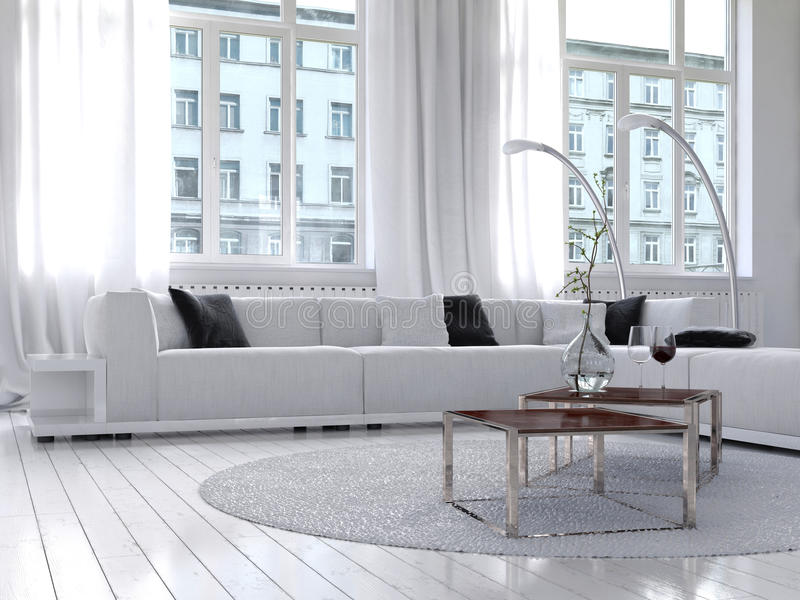 惊人的白色顶楼客厅内部 皇族释放例证