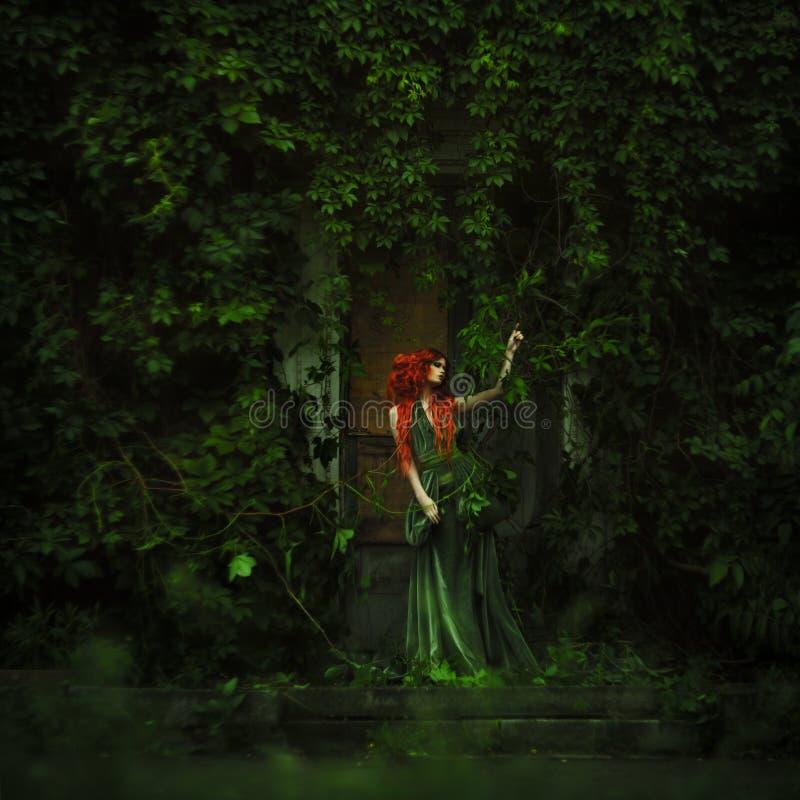 惊人的红发时尚妇女 免版税库存图片