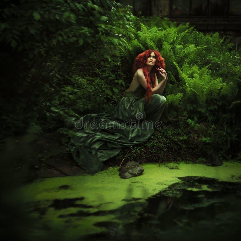 惊人的红发时尚妇女 库存照片