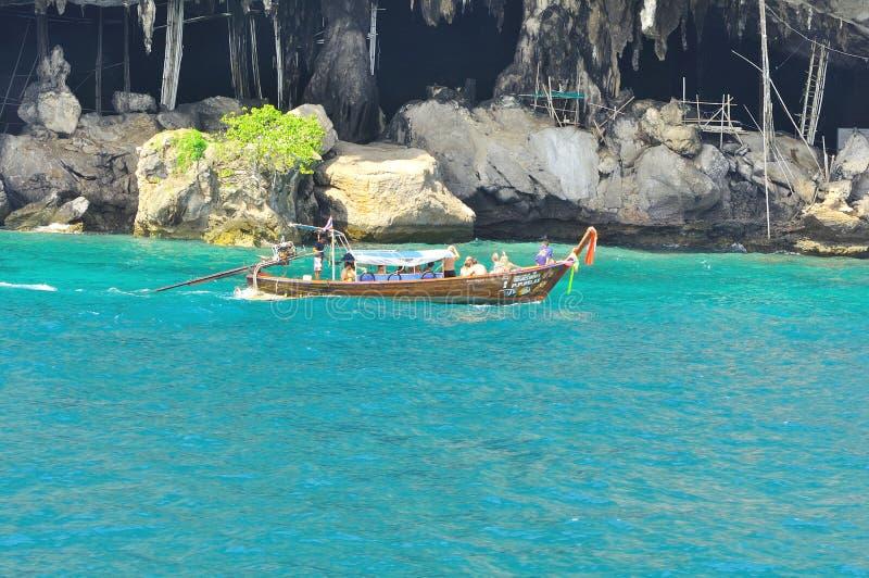 惊人的自然和异乎寻常的旅行目的地在披披岛,泰国 库存照片