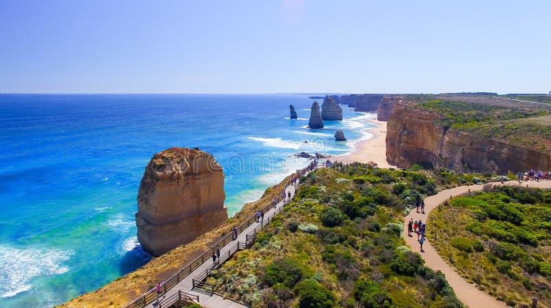 惊人的观点的从直升机,澳大利亚的十二位传道者 图库摄影
