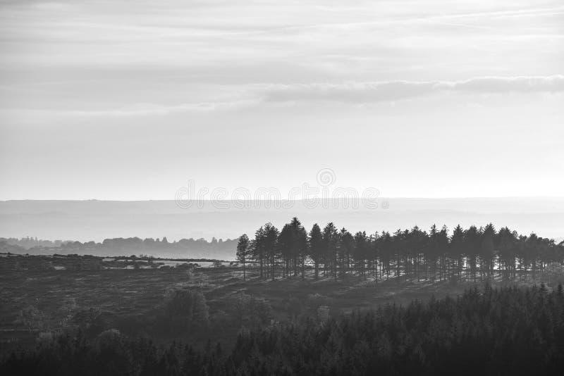 惊人秋天日落看法的风景图象从皮革突岩的在黑白的达特穆尔国立公园 免版税库存照片