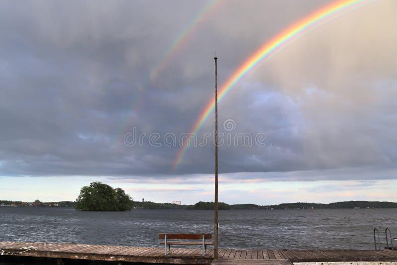 惊人自然双重彩虹加上超编人员的弓看在一个湖在北德国 图库摄影