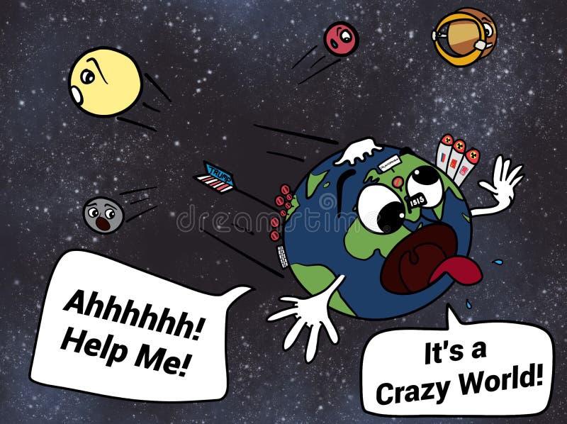 惊吓去邻居行星动画片例证的疯狂的地球 皇族释放例证