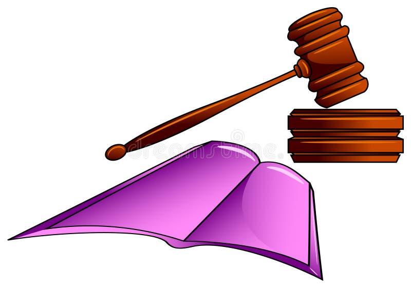 惊堂木和法律书籍 库存例证