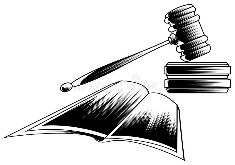 惊堂木和法律书籍 向量例证