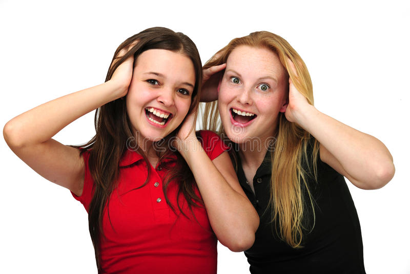 惊奇二名妇女的愉快 免版税图库摄影