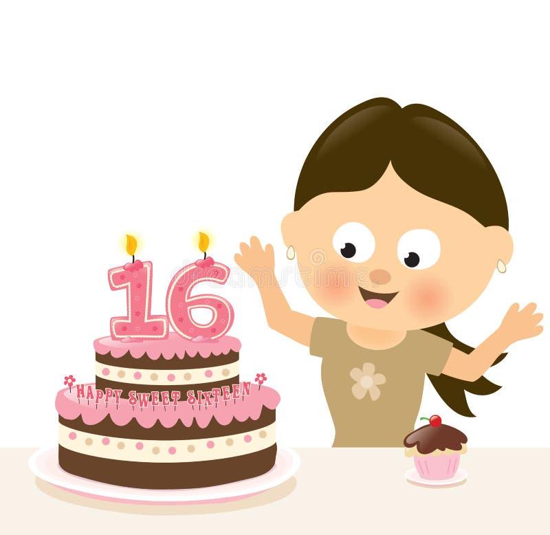 惊奇十六生日 向量例证