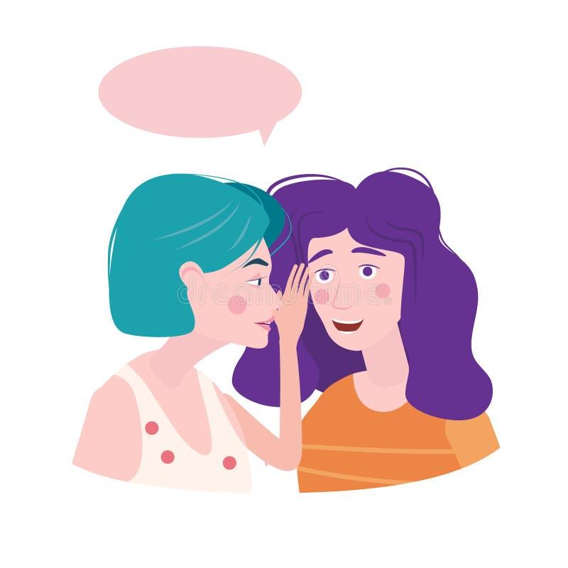 惊奇的两个女孩闲话,对其他女性角色说谣言 一个激动的女孩耳语秘密对女朋友 库存例证