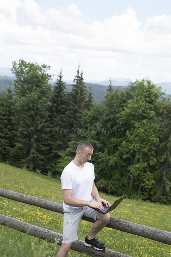惊奇的人坐木篱芭并且在膝上型计算机后工作在领域和具球果森林垂直的框架附近 库存图片