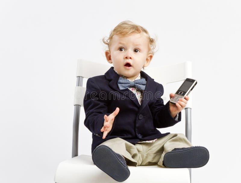 惊奇的办公室婴孩 免版税库存图片