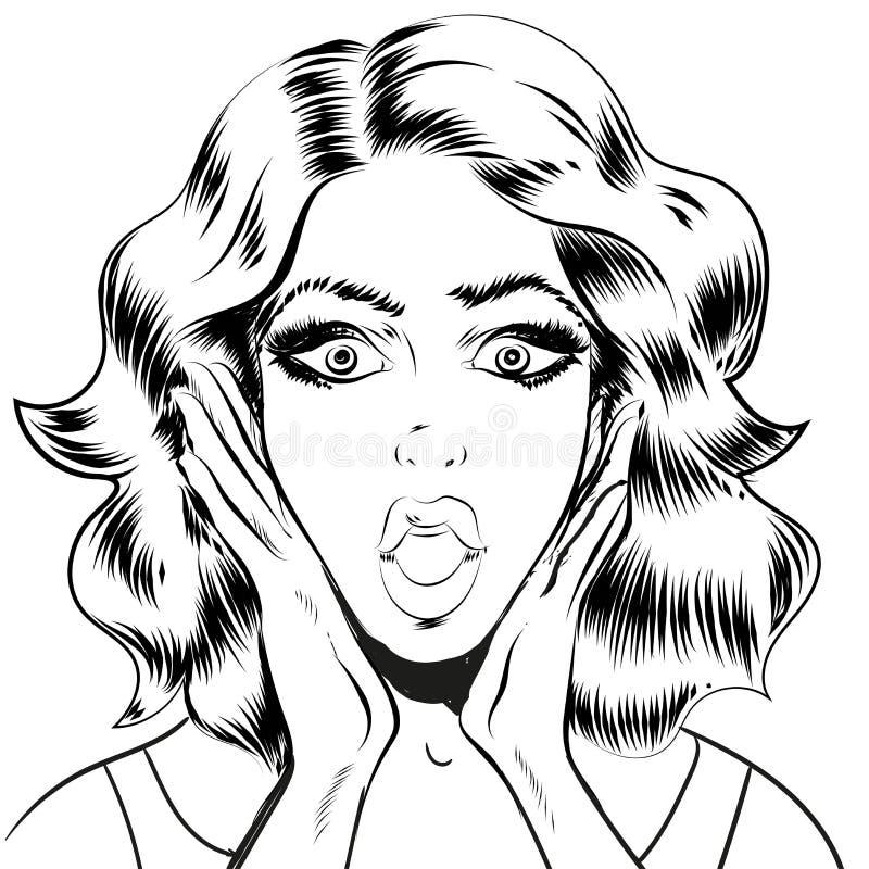 惊奇的妇女面孔线艺术 向量例证