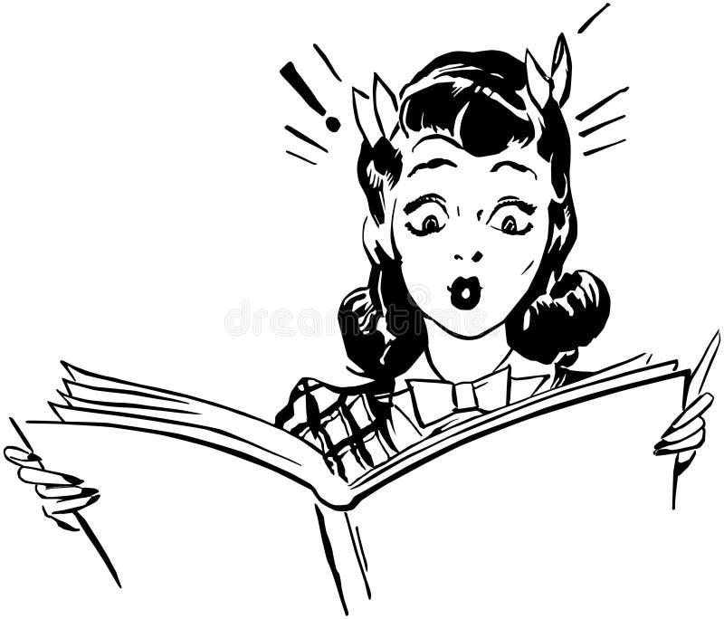 惊奇的妇女读书 库存例证